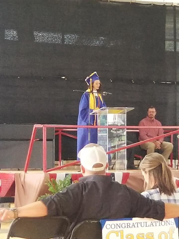 Salutatorian giving her address at graduation